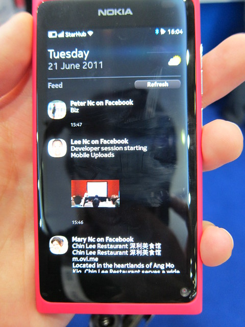 Nokia N9 Events Screen