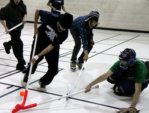 Wednesdays floor hockey game attracted a spirited group of players.