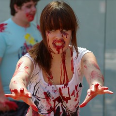 Holy shit, she's on to me (Axemaniac-Art) Tags: halloween zombies faithfull zombiewalk alburywodonga babymomma axemaniac