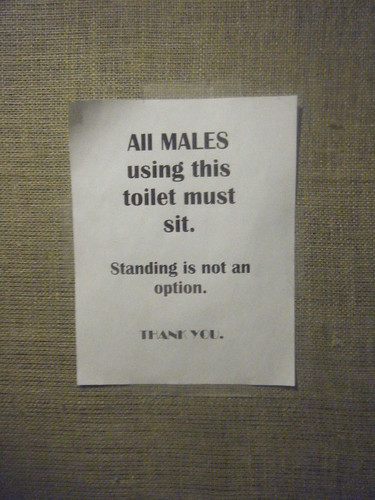 All MALES using this toilet must sit. Standing is not an option.