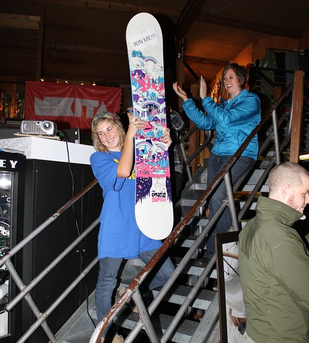 abby stoked on her new Omatic snowboard!!!