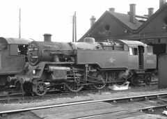 BR 4 2-6-4T. 80072. Leamington Spa shed. 13 March 1965 (ricsrailpics) Tags: uk bw steam 1965 class4 264t exbr leamingtonspashed