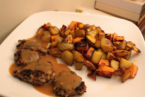 vegan 'sausage' and miso gravy with homefries