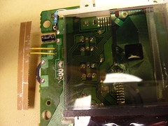 The handmade LED board attached to the LCD daughterboard.