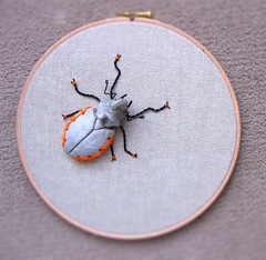 Rhinoceros Beetle sculpture mounted and sewn