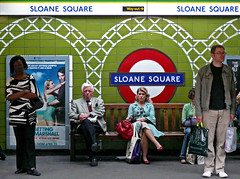 Sloane Square - Homage to Tony Day (an untrained eye) Tags: england colour london topf25 station topv111 underground topv555 candid streetphotography sloanesquare anuntrainedeye withaposterforthesurprisinglyentertainingforgettingsarahmarshallstarringrussellbrand notmanyleftinthevaultsnow lookingforwardtoafreshstart ifimakeittolondonthatis whatwiththesnowandall