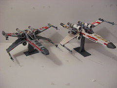 X-Wings wings open (Eleven-Thirty-Eight) Tags: starwars lego space xwing red5 lukeskywalker t65 starfighter red2 wedgeantilles redfive redtwo incomt65incom