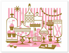 Sugar & Sweets in Pink (Katie Kirk) Tags: party art illustration print screenprint candy chocolate cupcake frosting candyjar candyshop eighthourday katiekirk