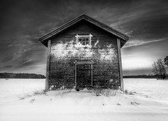 Cabin (Mikko Lagerstedt) Tags: nikon d90 sigma 1020mm wide angle cabin snow contrast black white bw hdr 3exp photomatix details nikond90bw latyrx finland landscape monochrome monochromatic 2009 nature suomi nikond90 stock sell light mikko resize photoshop finnish mikkolagerstedt photography photo perspective shadow graphic lagerstedt image unique fine art fineart photos field view natural color colors blue green red award beautiful colorful
