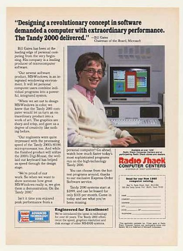 Bill Gates anunciando el Tandy 2000 (1984)