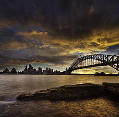 SYDNEY'S REMBRANDT LIGHT (xavibarca) Tags: sunset skyline north sydney operahouse verticalpanorama harborbridge flowingwater dramaticclouds exposureblending canon5dmarkii canontse17 xavibarca rembrandtskies