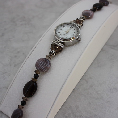 Botswana Agate and Smoky Quartz Watch