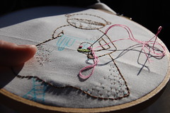 stitching in the car-rider line this afternoon (cathygaubert) Tags: ursula hoopupstitchandsendswap
