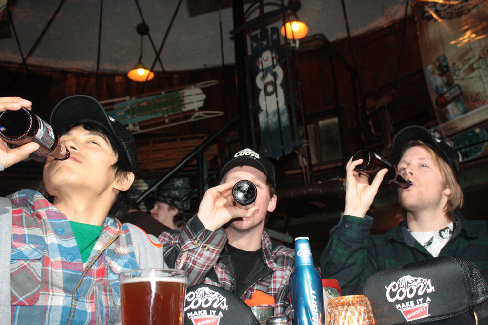 Round of Coors anyone? (Japan Freeskier Mag editor, Matt and Dan)