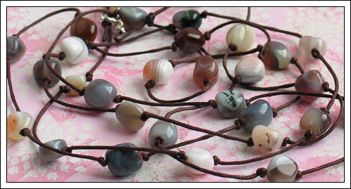 Knotted Botswana agate necklace