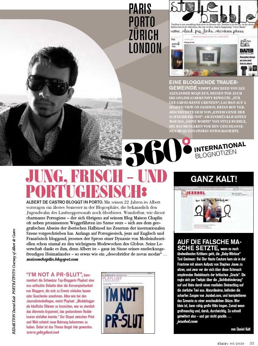 Albert de Castro interviewd for Mondadori Flair Austria