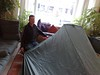 tarp tent in the house