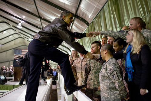 President Barack Obama greets U.S. troops at Bagram Airfield in Afghanistan, March 28, 2010. (Official White House Photo by Pete Souza)