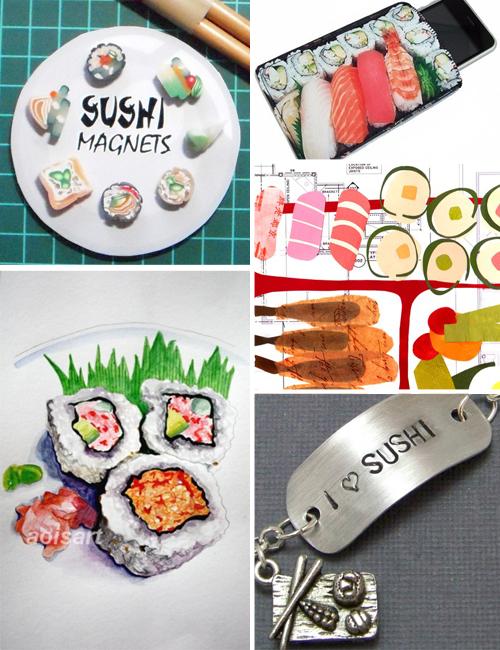 handmade sushi jewelry, cell phone case, artwork