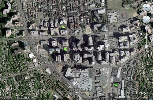 Ballston development, Arlington, VA (by: Google Earth, marks by me)