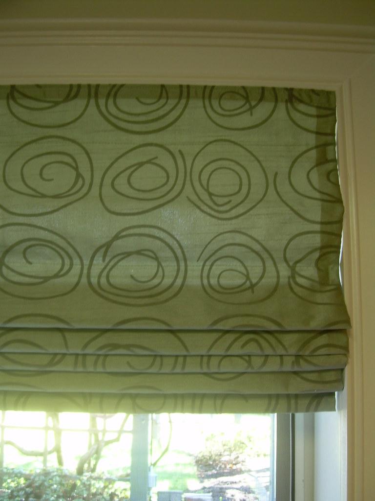 Green Swirls Roman Blind
