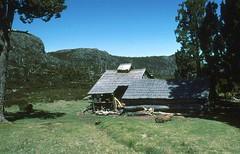 Dixon's Kingdom Hut, 1984 (NettyA) Tags: australia tasmania dixonskingdom wallsofjerusalem 1984 huts bushwalking scanned slides 35mm slide film janettetomsett dixonskingdomhut