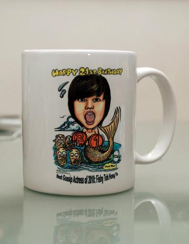 mermaid caricature on mug - 1