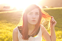 . (himmelseng) Tags: light sunset red summer sun white green girl grass canon hair spring rainbow eyes warm wind blow redhead 2011