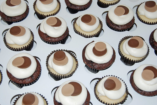 cream and chocolate brown sassy circle cupcakes
