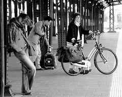 SAD?...... (Akbar Simonse) Tags: street people urban bw holland blancoynegro netherlands station bike bicycle waiting sad zwartwit candid streetphotography luggage streetshot straat roosendaal straatfotografie straatfoto 200000000stagelovers akbarsimo