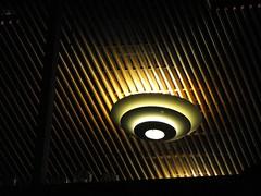 Light fixture in building near PGE Park, Portland, Oregon, taken from sidewalk