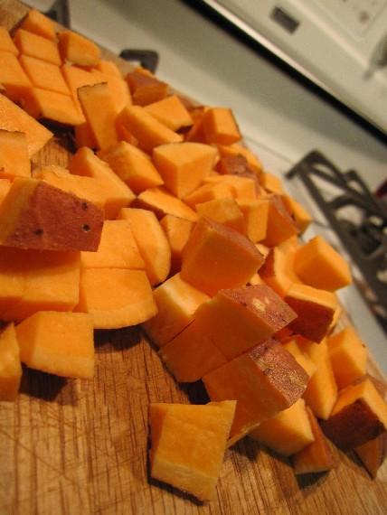Diced Up Sweet Potatoes