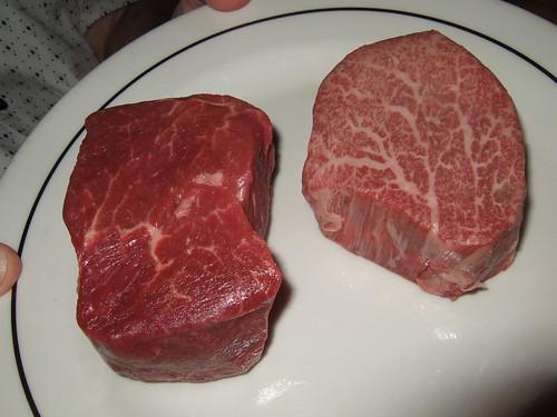 Filets: USDA Prime (left), A5 Kobe (right)