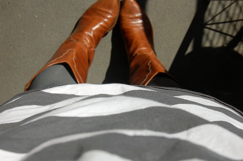 dress, tights, boots