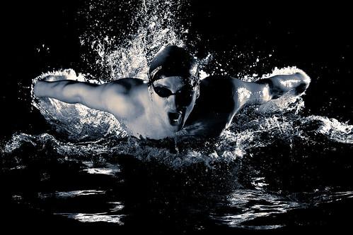 フリー写真素材, 運動・スポーツ, 水泳・泳ぐ, 人物, モノクロ写真,
