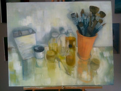 Artist's studio table - work in progress 2