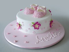 Amelie (Sweet Tiers) Tags: pink flowers baby girl cake hand blossoms made christening booties