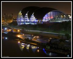 Sage at Night (Gilfillan Photography) Tags: nightphotography light night reflections dark newcastle sage tynebridge milleniumbridge lighttrails quayside longexposures