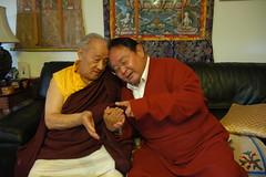 His Eminence Sogyal Rinpoche holding His Holiness Dagchen Sakya Rinpoche's hand to show his love and respect, Seattle, Washington, USA (Wonderlane) Tags: seattle family usa house love america washington unitedstates reception presents tibetan tradition presence enlightenment enjoyment gives noble sakya tibetanbuddhist 9151 sakyaphuntsokphodrang hesogyalrinpoche sakyafamilypalace hiseminencesogyalrinpocheholdinghisholinessdagchensakyarinpocheshandtoshowhisloveandrespect usa9151
