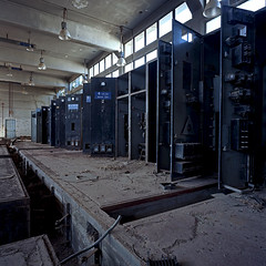 The Power House. Old American Base, Gournes (, ) Crete. (Terrorkitten) Tags: blue colour 6x6 film square greek hellas hasselblad greece generators crete electricity powerhouse swc cretan c41 swcm superwide   filmisnotdead hasselbladswc bebbington gournes hasselbladswcm terrorkitten   oldamericanbase philbebbington zeissbiogon38mmf45 hsslbld