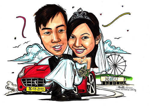 Wedding couple caricatures @ Megu Singapore Flyer A4