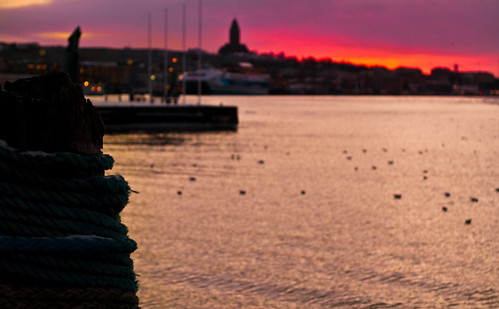 Sunset at the Gothenburg harbor
