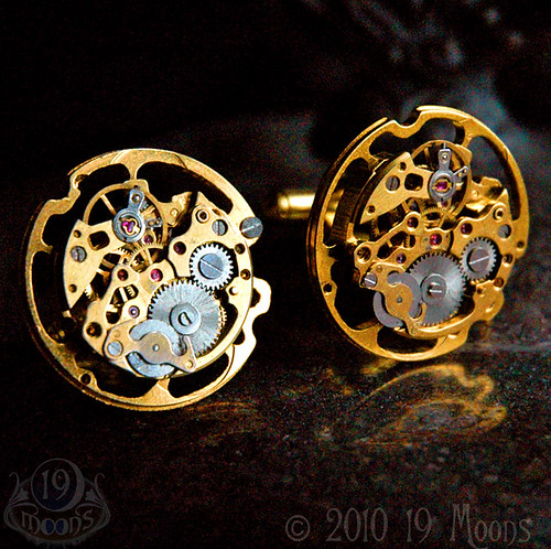 GOLD SKELETON SciFi Watch Movement Steampunk Cufflinks by 19 Moons
