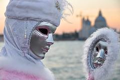 Specchiandosi nel tramonto /  Reflected in the sunset (PaoloBis) Tags: carnival venice sunshine tramonto mask getty carnevale venezia venedig gettyimages maschera 2010 sangiorgio d90 carnavaldevenise puntadelladogana nikond90 puntadellasalute paolobis