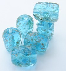 Blue Lagoon With A Twist (Glittering Prize - Trudi) Tags: uk blue glass beads handmade turquoise twist lagoon trudi lampwork shimmer sra goldstone glitteringprize fhfteam