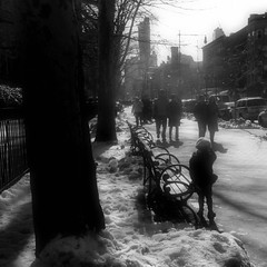 little upper west sider (Manhattan Girl) Tags: nyc trees light people bw snow vintage buildings square shadows manhattan softness retro upperwestside benches bwsquare