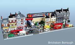 Brickston Borough (1) (Mad physicist) Tags: city london buildings lego modular british minifig cafecornercompatible brickstonborough