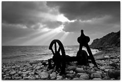 Of days gone by (TDR Photographic) Tags: uk light sea england sky blackandwhite beach water clouds canon portland coast rocks surf waves tide dorset contrejour churchopecove dorsetcoastpath