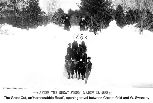 "Blizzard of March 1888 - the ""Great Cut"" on Hardscrabble Road, opening travel between Chesterfield and West Swanzey"