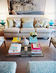 Victoria Thompson (It's Great To Be Home) Tags: glass fun pattern turquoise feminine livingroom zebra coffeetable neutral lonny